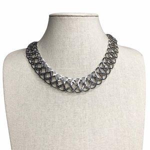 Vintage Silver Circles Choker Necklace